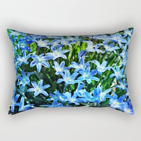 Blue Glory Snow Flowers Rectangular Pillow