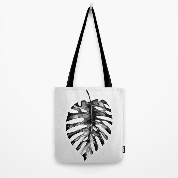 Minimal Monstera Tote Bag