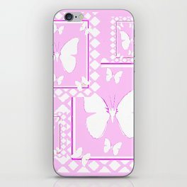 WHITE BUTTERFLIES PINK PATTERNED  ART iPhone Skin