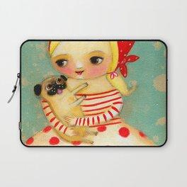 Babushka with pug dog Laptop Sleeve