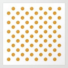 Mustard Dots White Lines Art Print