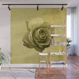 Metallic Gold Rose Flower Luxury Floral Victorian Bohemian Girly Wedding Bride Wall Mural