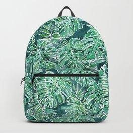 JUNGLE VIBES Green Monstera Watercolor Print Backpack