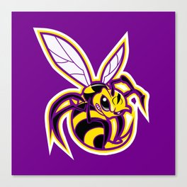 bee mascot yellow purple Canvas Print