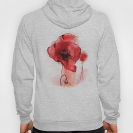 Red Poppy Watercolor Painting Hoody