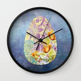 Elegant Floral Easter Egg Wall Clock