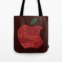 steve jobs Tote Bags featuring Steve Jobs on Consumers by Chris Piascik