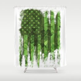 Saint Patrick's Day clover bunch Shower Curtain
