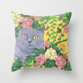 Cat in the canopy Throw Pillow