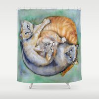 cuddle Shower Curtains featuring Cuddle Cats by Lucy's Visual Fling
