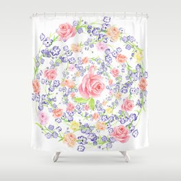 Bouquet of flowers - Marigold - BLUE Shower Curtain