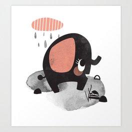 Rainy Day Elephant Art Print