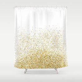 Gold Confetti Metallic Print Shower Curtain