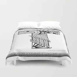 Zentangle T Monogram Alphabet Illustration Duvet Cover