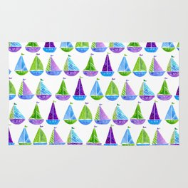 Watercolor colorful boats Rug
