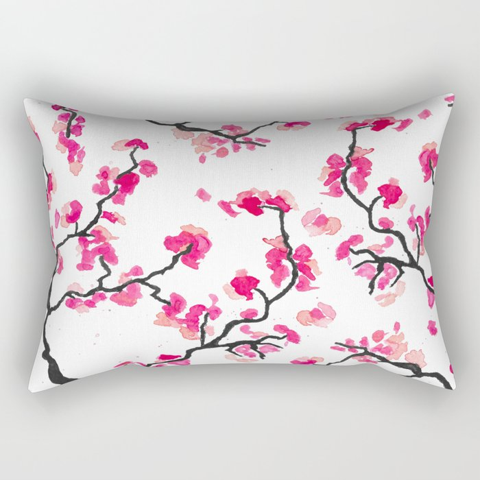 Japanese Cherry Blossoms Rectangular Pillow