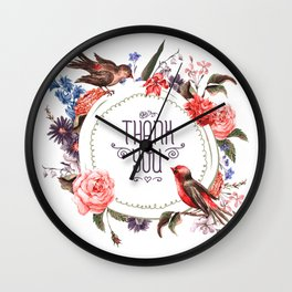 Birds Thanks Wall Clock