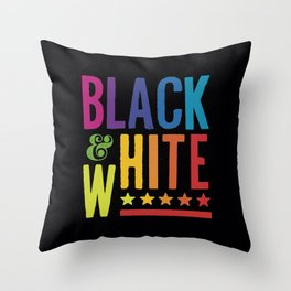 Colorful Black and White Throw Pillow