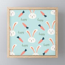 Hand drawn bunny pattern Framed Mini Art Print