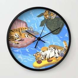 Pool Partiers (Pizza Clam Gator) Wall Clock