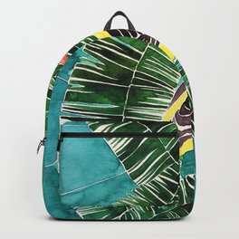 Yellow bird with banana leaves Backpack
