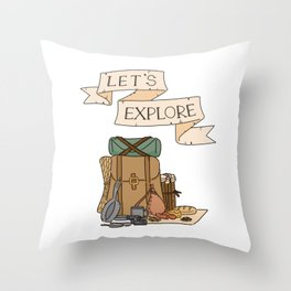 """Let's Explore"" Explorer's Pack Throw Pillow"