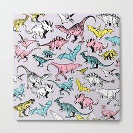 Pastel Dinosaurs Metal Print