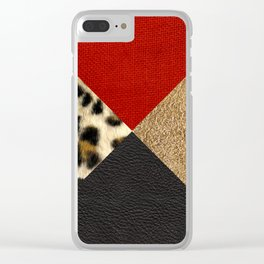 Leopard Print & Textured Triangles Clear iPhone Case