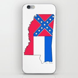 Mississippi Map with Mississippi Flag iPhone Skin