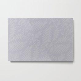 Pantone Lilac Gray Fancy Leaves Scroll Damask Pattern Metal Print