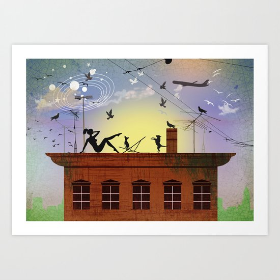on my rooftop Art Print