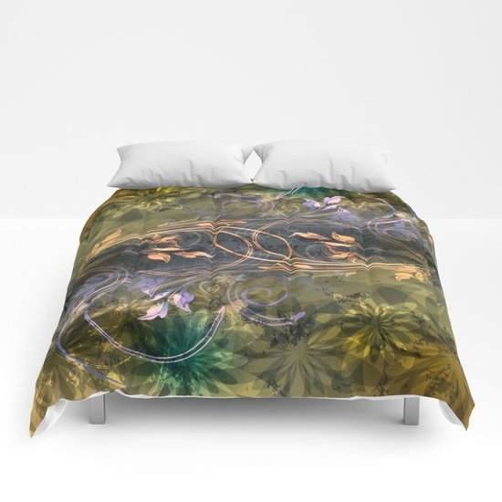 Earth Tone Floral Leaf Swirl Abstract Comforters
