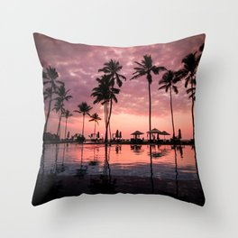 Serene Coconut Trees On Poolside Throw Pillow