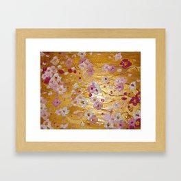 Cherry Blossoms on Gold Framed Art Print
