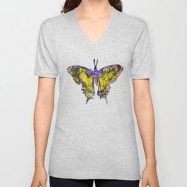 Purple Butterfy Unisex V-Neck
