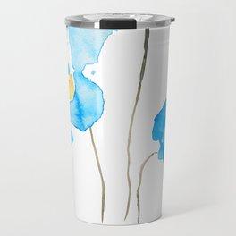 abstract Himalayan poppy flower watercolor Travel Mug