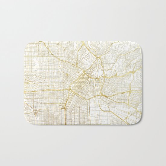 Los Angeles Map Gold Bath Mat