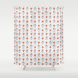Penguin Balloons Pattern Shower Curtain