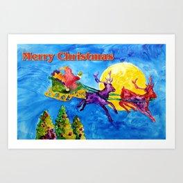 Santa's Night Flight Art Print