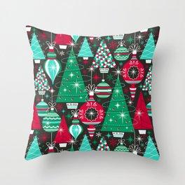 Deck The Halls - Black Green Throw Pillow