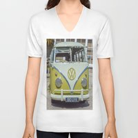 lime green V-neck T-shirts featuring Lime Green Camper Van Front by Cornish Creations