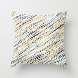 Yellow gray and blue scribe lines pattern Throw Pillow