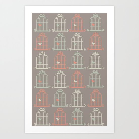 Bird Cage Pattern, Illustration, Shabby Chic, Vintage, Art Print