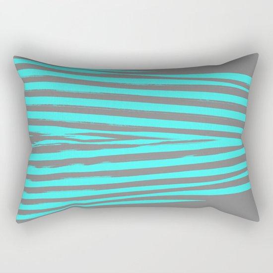 Aqua & Gray Stripes Rectangular Pillow