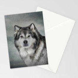 Drawing Dog Alaskan Malamute Stationery Cards