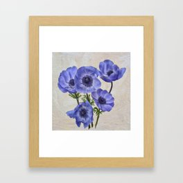 Pretty Periwinkle Poppies Framed Art Print