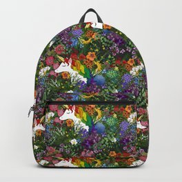 Unicorn in a Rainbow Garden Backpack
