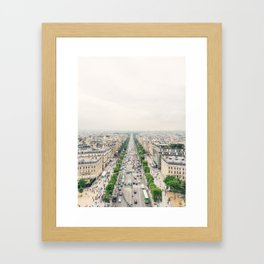Aerial view of the Champs-Élysées in Paris, France Framed Art Print