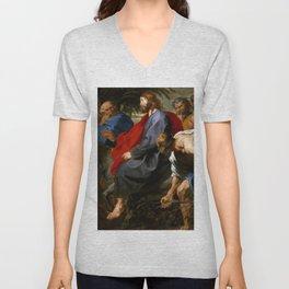 """Sir Anthony van Dyck """"Entry of Christ into Jerusalem"""" Unisex V-Neck"""