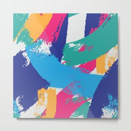 Multicolor Abstract Brushstrokes  Metal Print